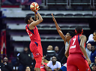 Washington, DC - May 27, 2018: Washington Mystics forward Myisha Hines-Allen (2) shoots a jumps shot over Minnesota Lynx center Sylvia Fowles (34) during game between the Mystics and Lynx at the Capital One Arena in Washington, DC. (Photo by Phil Peters/Media Images International)