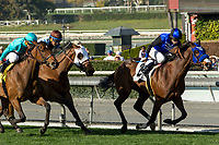 ARCADIA, CA  DECEMBER  30: #2 Midnight Crossing, ridden by Brice Blanc, holds off a fast closing #4 Elysea's World, ridden by Javier Castellano, and #3 Laseen, ridden by Victor Espinoza, in the stretch of  the Robert J. Frankel Stakes (Grade lll) on December 30, 2017, at Santa Anita Park, in Arcadia, CA. (Photo by Casey Phillips/ Eclipse Sportswire/ Getty Images)