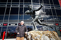 Pictured: Reverend Eldon Phillips, the Chaplain of the Scarlets by the statue of Ray Gravell outside the Parc Y Scarlets. Wednesday 09 March 2018<br /> Re: The effect that the Scarlets RFC has had in the town of Llanelli in Carmarthenshire and the west Wales region.