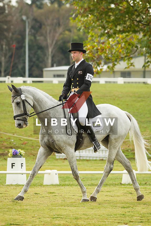 NZL-Simon Gordon (FLETCH.COM) INTERIM-14TH: CIC3* DRESSAGE: 2014 NZL-BNZ Kihikihi International Horse Trial (Friday 11 April) CREDIT: Libby Law COPYRIGHT: LIBBY LAW PHOTOGRAPHY - NZL