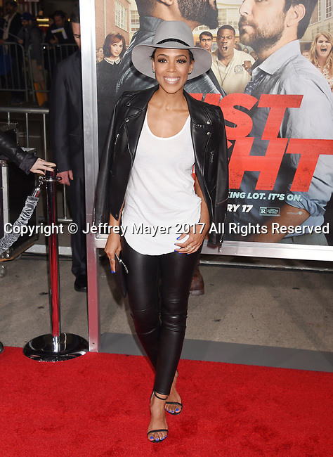 HOLLYWOOD, CA - FEBRUARY 13: Actress Jazmyn Simon attends the premiere of Warner Bros. Pictures' 'Fist Fight' at the Regency Village Theatre on February 13, 2017 in Westwood, California.
