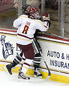 Edwin Shea (BC - 8), Daniel New (PC - 55) - The Boston College Eagles defeated the visiting Providence College Friars 4-1 (EN) on Tuesday, December 6, 2011, at Kelley Rink in Conte Forum in Chestnut Hill, Massachusetts.