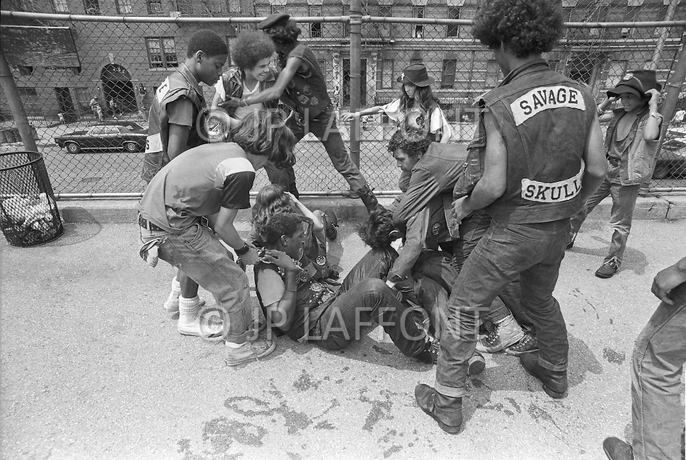 "New York, NY July 20th 1972 - New York street gang ""Savage Skulls"". The trademark of the primarily Puerto Rican gang was a sleeveless denim jacket with a skull and crossbones design on the back. Based in the Hunts Point area of the  South Bronx, the gang declared war on the drug dealers that operated in the area. Running battles were frequent with rival gangs ""Seven Immortals"" and ""Savage Nomads"".  - members of the ""Dirty Dozen"" gang"