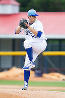 Burlington Royals starting pitcher Chase Darhower (60) in action against the Princeton Rays at Burlington Athletic Park on July 9, 2014 in Burlington, North Carolina.  The Rays defeated the Royals 3-0.  (Brian Westerholt/Four Seam Images)