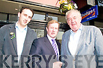 FUNCTION: Fine Gael Leader Enda Kenny was in Kerry on Friday to attend a function to honour former councillor, Michael Connor Scarteen (right), pictured with his son, Cllr Patrick Connor Scarteen.