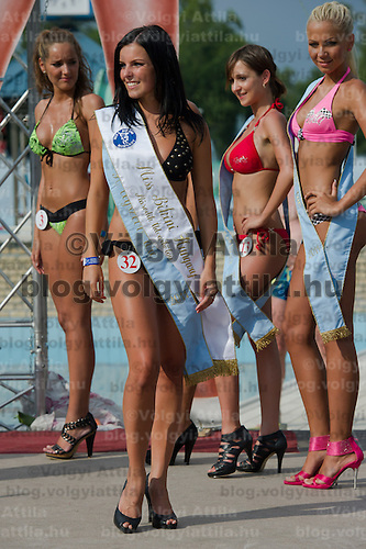 Evelin Szalai (R) placed third during the Miss Bikini Hungary beauty contest held in Budapest, Hungary on August 06, 2011. ATTILA VOLGYI