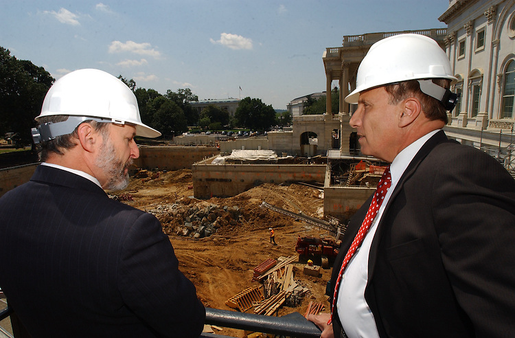 CVC16_061003 -- Architect of the Capitol, Alan Hantman and John Mica, R-FL., look over the construction site of the new Capitol Visitors Center outside the Senate side,  East Front of the U.S. Capitol.