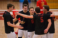 STANFORD, CA - January 2, 2018: JP Reilly, Russell Dervay, Eli Wopat, Jacob Thoenen at Burnham Pavilion. The Stanford Cardinal defeated the Calgary Dinos 3-1.