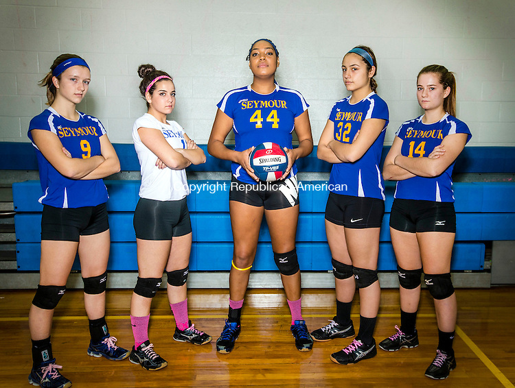 Seymour, CT- 17 November 2016-111716CM01- Members of the Seymour High School volleyball team include, from left,  Caitlyn O'Hara, Shari Minalga, Faith Thurmond, Sam Di'Orio-Torres and Gosia Fryc. The team will square off against Torrington for the state title on Saturday.     Christopher Massa Republican-American