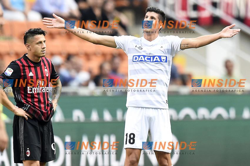 esultanza gol Stipe Perica goal celebration<br /> Milano 11-09-2016 Stadio Giuseppe MeazzaFootball Calcio Serie A 2016/2017 Milan-Udinese. Foto Daniele Buffa / Image Sport / Insidefoto