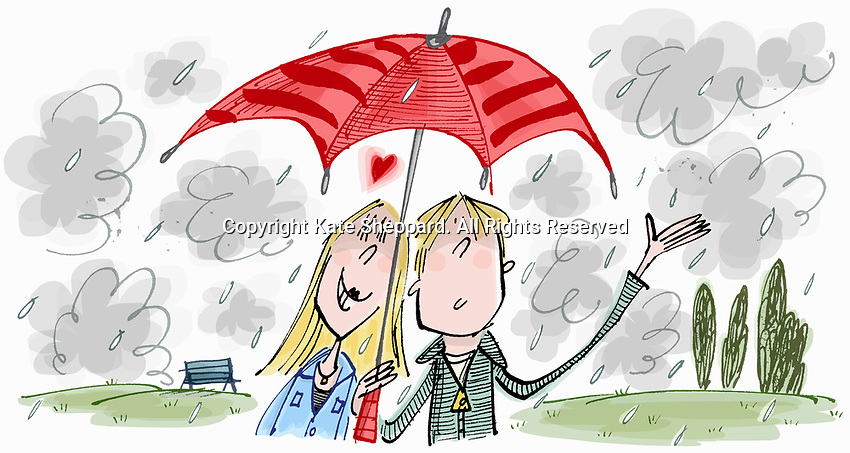 Adoring teenage girl in love with boy sharing umbrella