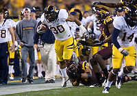 Mychal Kendricks of California runs down the field after Arizona State's turnover during a game at Sun Devil Stadium in Tempe, California on November 25th, 2011  - California defeated Arizona State 47 - 38