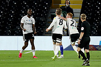 10th July 2020; Craven Cottage, London, England; English Championship Football, Fulham versus Cardiff City; Joshua Onomah of Fulham celebrates his goal with team mates for 2-0 in the 66th minute