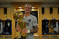 San Jose, CA - Monday July 10, 2017: Matt Bersano, NBA Trophy prior to a U.S. Open Cup quarterfinal match between the San Jose Earthquakes and the Los Angeles Galaxy at Avaya Stadium.