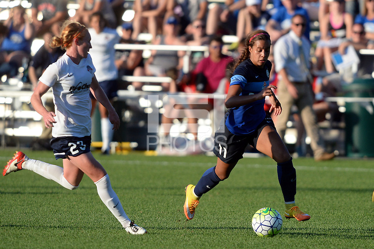 Kansas City, MO - Saturday July 16, 2016: Victoria Huster, Frances Silva during a regular season National Women's Soccer League (NWSL) match between FC Kansas City and the Washington Spirit at Swope Soccer Village.