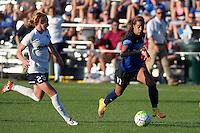 Kansas City, MO - Saturday July 16, 2016: Victoria Huster, Frances Silva during a regular season National Women's Soccer League (NWSL) match between FC Kansas City and the Washington Spirit at Swope Soccer Village.