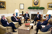 "Dec. 28, 2012.""After returning early from his Christmas vacation, the President with the Vice President meets in the Oval Office with the leadership of Congress to discuss the fiscal cliff."".Mandatory Credit: Pete Souza - White House via CNP"