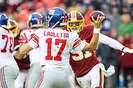 Landover, MD - December 9, 2018: New York Giants quarterback Kyle Lauletta (17) throws a pass during the  game between New York Giants and Washington Redskins at FedEx Field in Landover, MD.   (Photo by Elliott Brown/Media Images International)