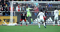 WASHINTON, DC - FEBRUARY 29: Washington, D.C. - February 29, 2020: Bill Hamid #24 of D.C. United defends the play. The Colorado Rapids defeated D.C. United 2-1 during their Major League Soccer (MLS)  match at Audi Field during a game between Colorado Rapids and D.C. United at Audi FIeld on February 29, 2020 in Washinton, DC.