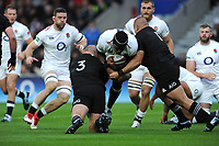Maro Itoje of England is stopped by props Owen Franks and Karl Tu'inukuafe of New Zealand during the Quilter International match between England and New Zealand at Twickenham Stadium on Saturday 10th November 2018 (Photo by Rob Munro/Stewart Communications)