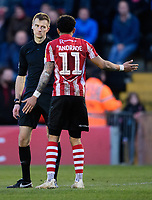Lincoln City's Bruno Andrade, right, speaks to Referee Michael Salisbury<br /> <br /> Photographer Chris Vaughan/CameraSport<br /> <br /> The EFL Sky Bet League Two - Lincoln City v Northampton Town - Saturday 9th February 2019 - Sincil Bank - Lincoln<br /> <br /> World Copyright &copy; 2019 CameraSport. All rights reserved. 43 Linden Ave. Countesthorpe. Leicester. England. LE8 5PG - Tel: +44 (0) 116 277 4147 - admin@camerasport.com - www.camerasport.com