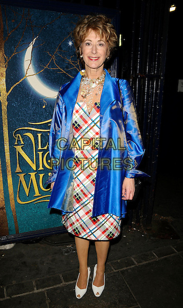 "MAUREEN LIPMAN .At the ""A Little Night Music"" Press Night, Garrick Theatre, London, England, UK,.7th April 2009..full length blue satin silk shirt jacket tartan dress white shoes peep toe necklace .CAP/CAN.©Can Nguyen/Capital Pictures"