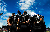 The NZ team huddles on day two of the 2018 HSBC World Sevens Series Hamilton at FMG Stadium in Hamilton, New Zealand on Saturday, 3 February 2018. Photo: Dave Lintott / lintottphoto.co.nz