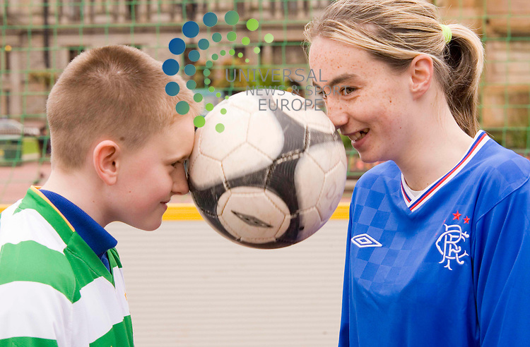 Launch of The Old Firm Alliance Street League.Stuart Bermingham, and Paige Forsyth, George Square, Glasgow.  Picture Johnny Mclauchlan/Universal news and Sport (Scotland)09/10/09