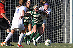 31 August 2014: UAB's Amy Brewer (26) and Duke's Kelly Cobb (behind, right). The Duke University Blue Devils hosted the University of Alabama Birmingham Blazers at Koskinen Stadium in Durham, North Carolina in a 2014 NCAA Division I Women's Soccer match. Duke won the game 3-1.
