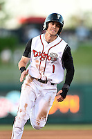 Lansing Lugnuts outfielder Ian Parmley (1) runs the bases during a game against the South Bend Silver Hawks on June 6, 2014 at Cooley Law School Stadium in Lansing, Michigan.  South Bend defeated Lansing 13-5.  (Mike Janes/Four Seam Images)