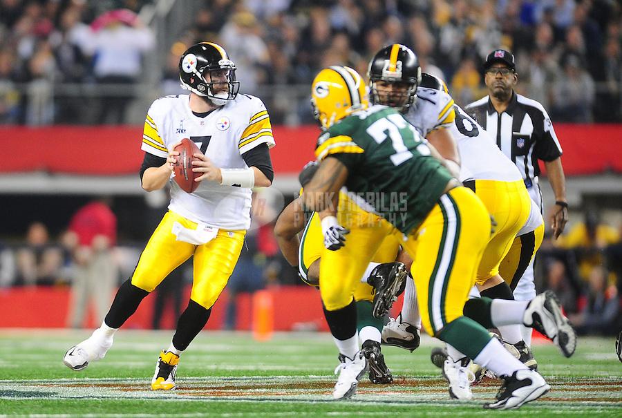 Feb 6, 2011; Arlington, TX, USA; Pittsburgh Steelers quarterback Ben Roethlisberger (7) during Super Bowl XLV against the Green Bay Packers at Cowboys Stadium.  Mandatory Credit: Mark J. Rebilas-
