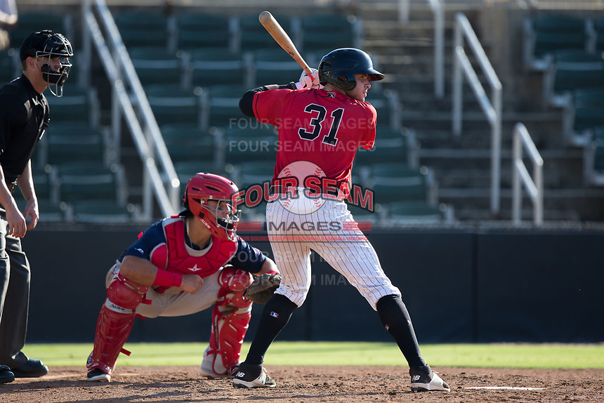 Brandon Dulin (31) of the Kannapolis Intimidators at bat against the Hagerstown Suns at Kannapolis Intimidators Stadium on June 14, 2017 in Kannapolis, North Carolina.  The Intimidators defeated the Suns 4-1 in game one of a double-header.  (Brian Westerholt/Four Seam Images)