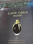 Billboard: Lady Gaga perfume, Fame by Lady Gaga. The first black perfume that sprays on clear, the fierce fragrance by Lady Gaga.  Times Square on August 26, 2012 in New York City.