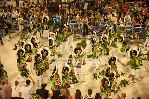 Imperatriz Leopolinense Samba School, Carnival, Rio de Janeiro, Brazil, 26th February 2017. The parade of the Defenders of the Forest, which includes people from several NGOs which work with the Amazon and its people, including members of International Rivers, Xingu Vivo para Sempre and the Pingo d'Agua actors' activist group.