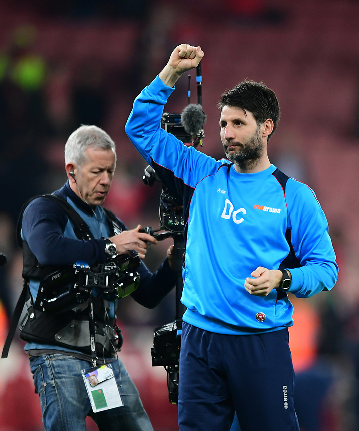 Lincoln City manager Danny Cowley acknowledges the travelling fans at the final whistle<br /> <br /> Photographer Chris Vaughan/CameraSport<br /> <br /> The Emirates FA Cup Quarter-Final - Arsenal v Lincoln City - Saturday 11th March 2017 - The Emirates - London<br />  <br /> World Copyright &copy; 2017 CameraSport. All rights reserved. 43 Linden Ave. Countesthorpe. Leicester. England. LE8 5PG - Tel: +44 (0) 116 277 4147 - admin@camerasport.com - www.camerasport.com