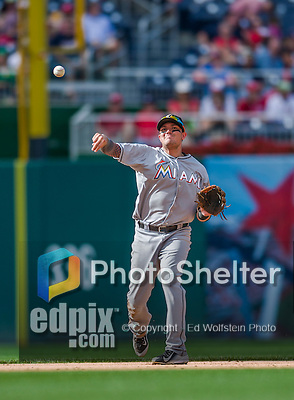 20 September 2015: Miami Marlins infielder Miguel Rojas in action against the Washington Nationals at Nationals Park in Washington, DC. The Marlins fell to the Nationals 13-3 in the final game of their 4-game series. Mandatory Credit: Ed Wolfstein Photo *** RAW (NEF) Image File Available ***