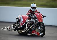Jun. 15, 2012; Bristol, TN, USA: NHRA top fuel Harley motorcycle rider Mike Bahnmaier during qualifying for the Thunder Valley Nationals at Bristol Dragway. Mandatory Credit: Mark J. Rebilas-