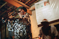 Forró performer Messias Holanda, 79, sings with his small group from the stage of a dance pavillion on the Fazenda Bonfim ranch near São José de Mipibu, Brazil, Saturday, Jan. 14, 2006, where rancher Marcos Fernandez Lopes holds the Forró da Lua, or Forró of the Moon each month. (Kevin Moloney for the New York Times)