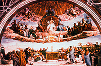 "Vatican:  Raphael's Rooms--""The Dispute"", a fresco by Raphael in a reception room (Segnatura) of the Palace of the Vatican."