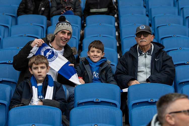 Brighton fans<br /> <br /> Photographer David Horton/CameraSport<br /> <br /> Emirates FA Cup Fourth Round - Brighton and Hove Albion v West Bromwich Albion - Saturday 26th January 2019 - The Amex Stadium - Brighton<br />  <br /> World Copyright © 2019 CameraSport. All rights reserved. 43 Linden Ave. Countesthorpe. Leicester. England. LE8 5PG - Tel: +44 (0) 116 277 4147 - admin@camerasport.com - www.camerasport.com