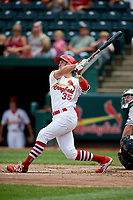Springfield Cardinals second baseman Dickie Joe Thon (35) follows through on a swing during a game against the San Antonio Missions on June 4, 2017 at Hammons Field in Springfield, Missouri.  San Antonio defeated Springfield 6-1.  (Mike Janes/Four Seam Images)