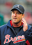 31 March 2011: Atlanta Braves starting pitcher Derek Lowe walks the dugout during Opening Day play against the Washington Nationals at Nationals Park in Washington, District of Columbia. Lowe earned his first win as the Braves shut out the Nationals 2-0 to start off the 2011 Major League Baseball season. Mandatory Credit: Ed Wolfstein Photo