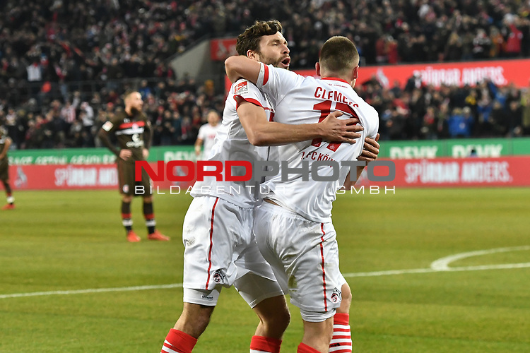 08.02.2019, Rheinenergiestadion, K&ouml;ln, GER, DFL, 2. BL, VfL 1. FC Koeln vs FC St. Pauli, DFL regulations prohibit any use of photographs as image sequences and/or quasi-video<br /> <br /> im Bild Jonas Hector (#14, 1.FC K&ouml;ln / Koeln) Christian Clemens (#17, 1.FC K&ouml;ln / Koeln) feiern das Tor zum 2:1 Torschuetze Jhon Cordoba (#15, 1.FC K&ouml;ln / Koeln)  <br /> <br /> Foto &copy; nph/Mauelshagen