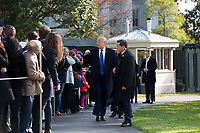 United States President Donald J. Trump greets guests on the South Lawn of the White House in Washington D.C., U.S. as he departs for a day trip to Marietta, Georgia on Friday, November 8, 2019.  Credit: Stefani Reynolds / CNP /MediaPunch
