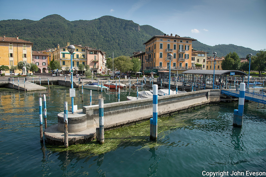 Boat moorings at Isseo, Lake Iseo, Lombardy, Italy.