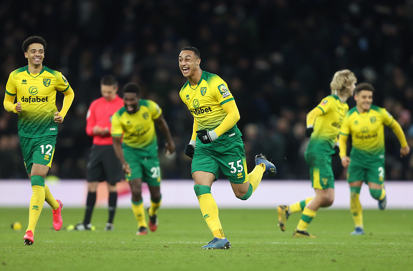 Norwich City's Adam Idah leads the Norwich celebrations after they had won the penalty shoot-out <br /> <br /> Photographer Rob Newell/CameraSport<br /> <br /> The Emirates FA Cup Fifth Round - Tottenham Hotspur v Norwich City - Wednesday 4th March 2020 - Tottenham Hotspur Stadium - London<br />  <br /> World Copyright © 2020 CameraSport. All rights reserved. 43 Linden Ave. Countesthorpe. Leicester. England. LE8 5PG - Tel: +44 (0) 116 277 4147 - admin@camerasport.com - www.camerasport.com