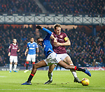 01.12.2019 Rangers v Hearts: Christophe Berra grapples with Joe Aribo