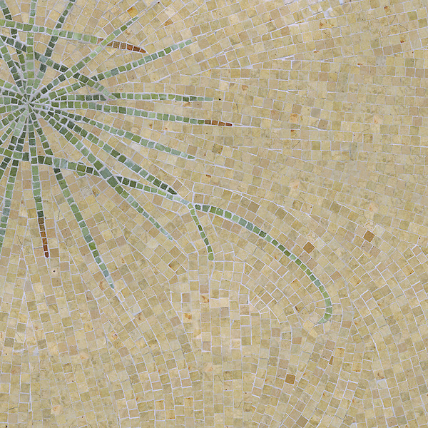 Ikebana a hand-cut stone mosaic, shown in honed Lagos Gold, polished Verde Luna, polished Travertine Noce, and polished Topaz Onyx. Designed by James Duncan for New Ravenna Mosaics.