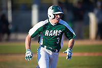 Farmingdale State Rams Joseph Roche (3) runs to first base during the second game of a doubleheader against the FDU-Florham Devils on March 15, 2017 at Lake Myrtle Park in Auburndale, Florida.  FDU-Florham defeated Farmingdale 8-4.  (Mike Janes/Four Seam Images)