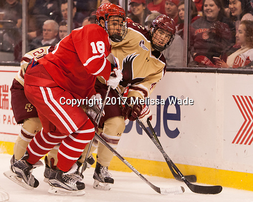 Jordan Greenway (BU - 18), Michael Kim (BC - 4) - The Boston University Terriers defeated the Boston College Eagles 3-1 in their opening Beanpot game on Monday, February 6, 2017, at TD Garden in Boston, Massachusetts.